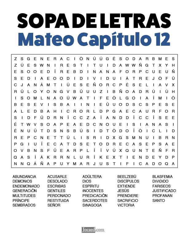 Sopa de Letras - Mateo Cápitulo 12