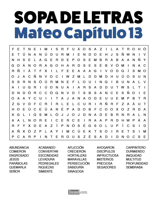 Sopa de Letras - Mateo Cápitulo 13