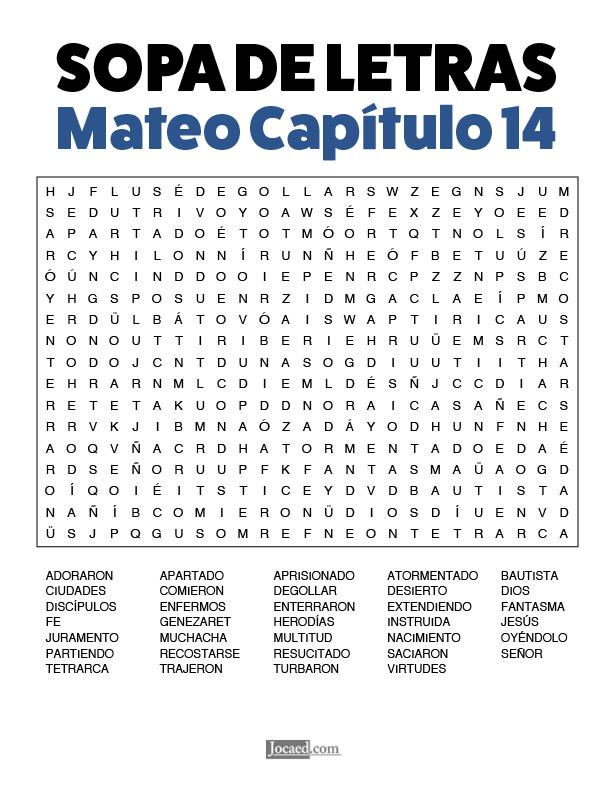 Sopa de Letras - Mateo Cápitulo 14