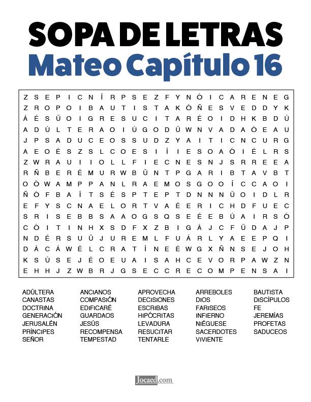 Sopa de Letras - Mateo Cápitulo 16