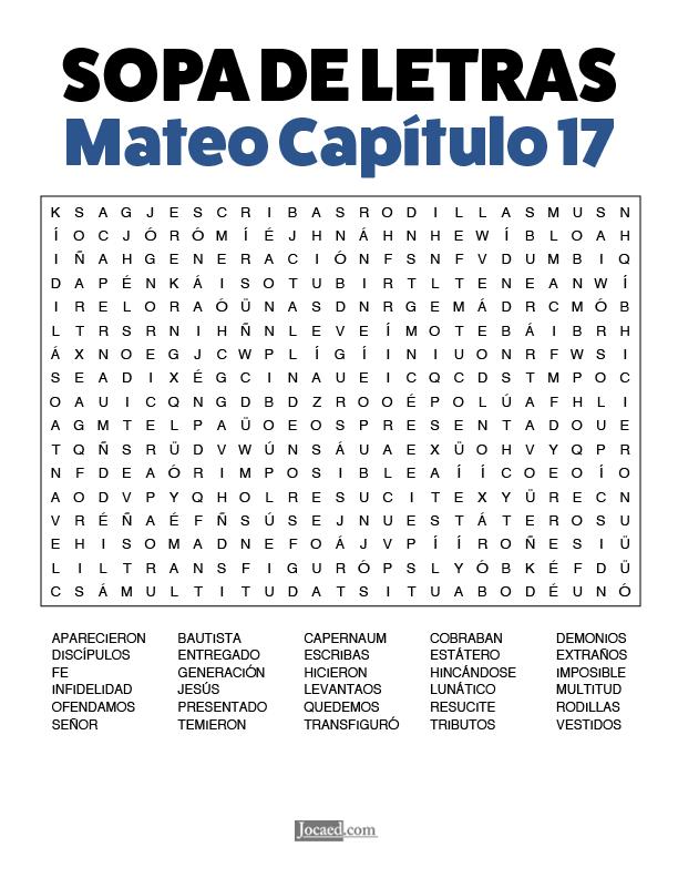 Sopa de Letras - Mateo Cápitulo 17