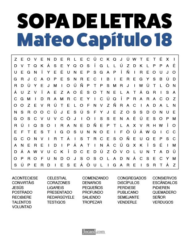 Sopa de Letras - Mateo Cápitulo 18