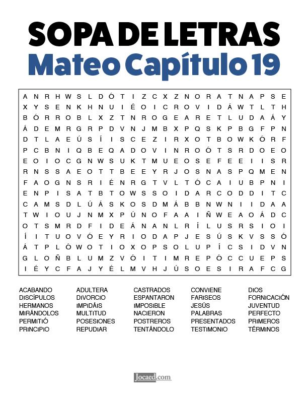Sopa de Letras - Mateo Cápitulo 19