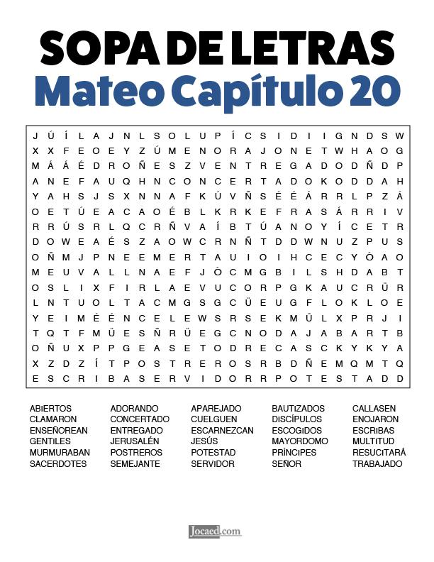 Sopa de Letras - Mateo Cápitulo 20