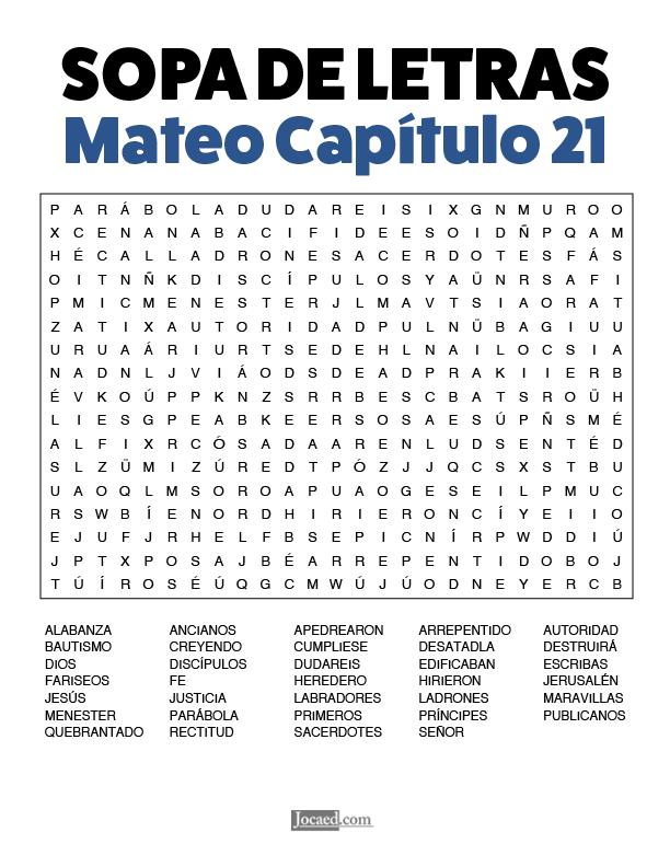 Sopa de Letras - Mateo Cápitulo 21