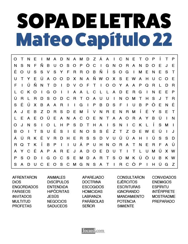 Sopa de Letras - Mateo Cápitulo 22