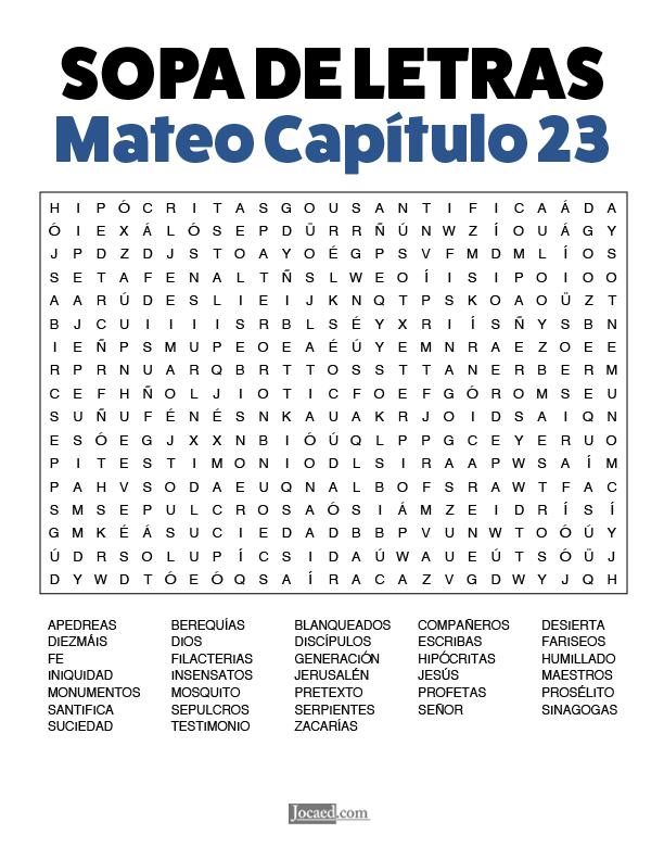 Sopa de Letras - Mateo Cápitulo 23