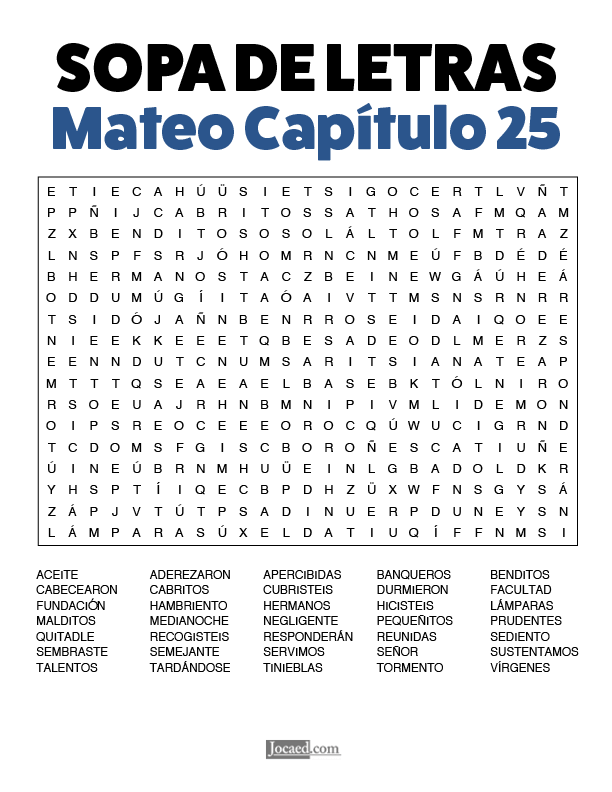Sopa de Letras - Mateo Cápitulo 25