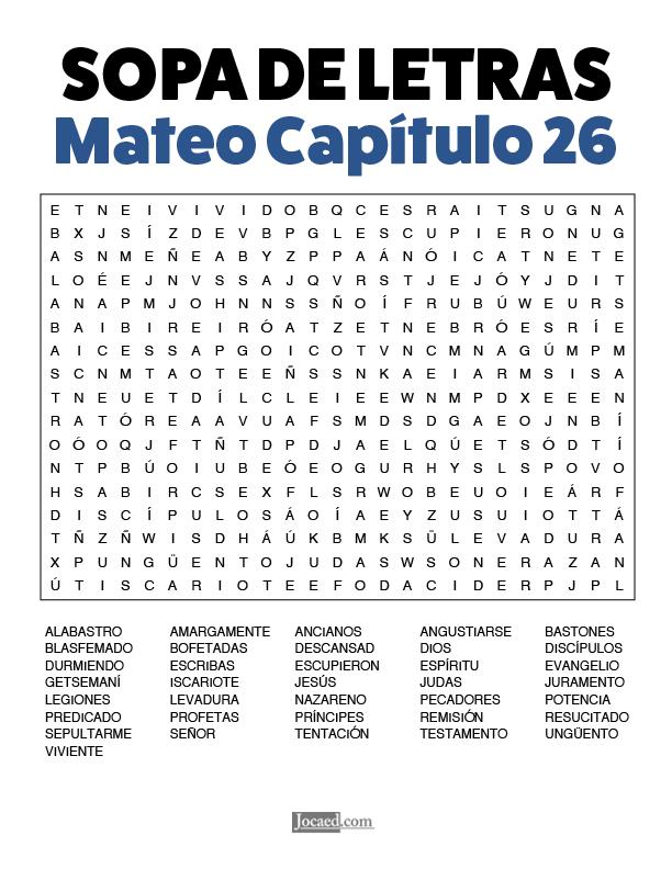 Sopa de Letras - Mateo Cápitulo 26