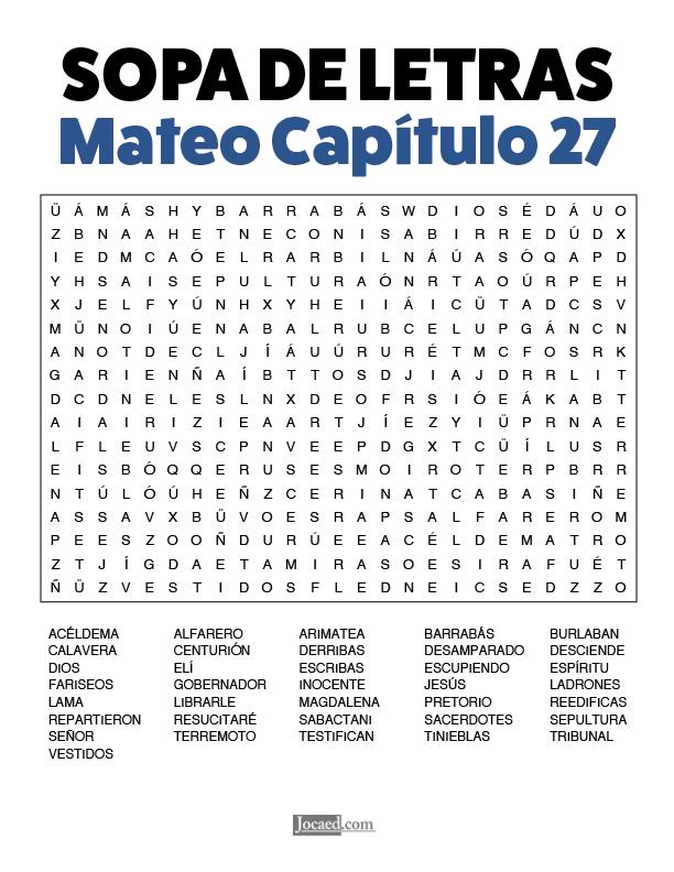 Sopa de Letras - Mateo Cápitulo 27