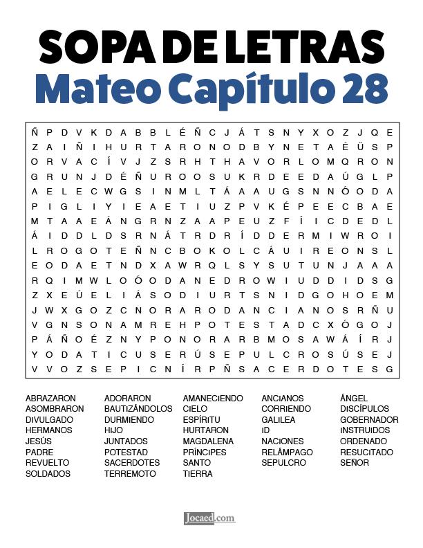 Sopa de Letras - Mateo Cápitulo 28