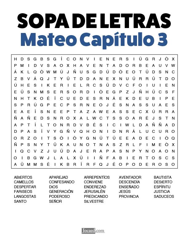 Sopa de Letras - Mateo Cápitulo 3