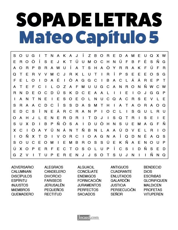 Sopa de Letras - Mateo Cápitulo 5
