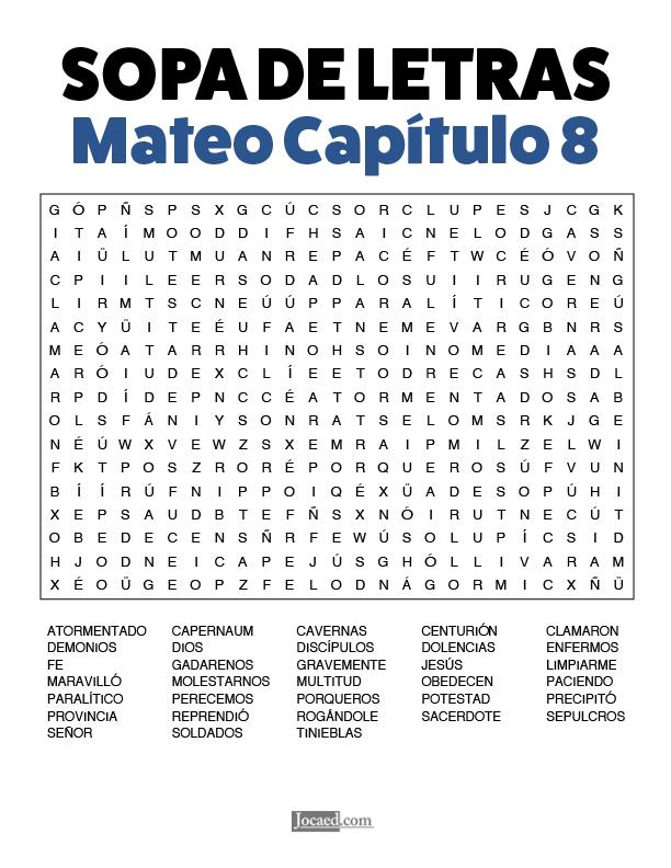 Sopa de Letras - Mateo Cápitulo 8