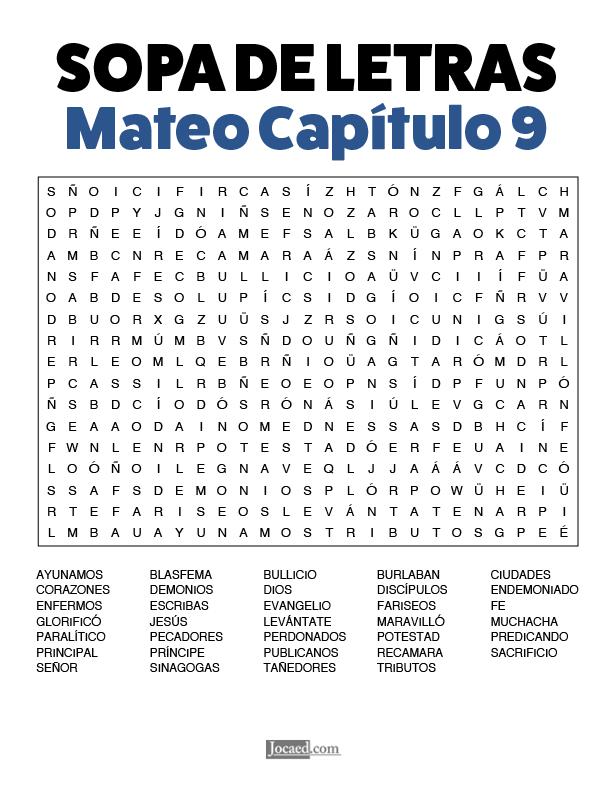Sopa de Letras - Mateo Cápitulo 9