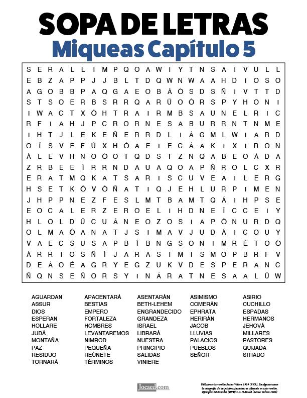 Sopa de Letras - Miqueas Cápitulo 5