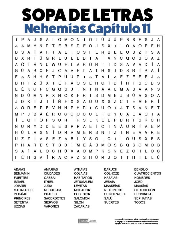 Sopa de Letras - Nehemías Cápitulo 11