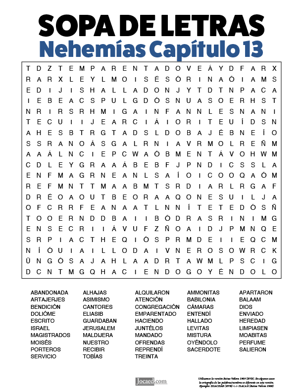Sopa de Letras - Nehemías Cápitulo 13