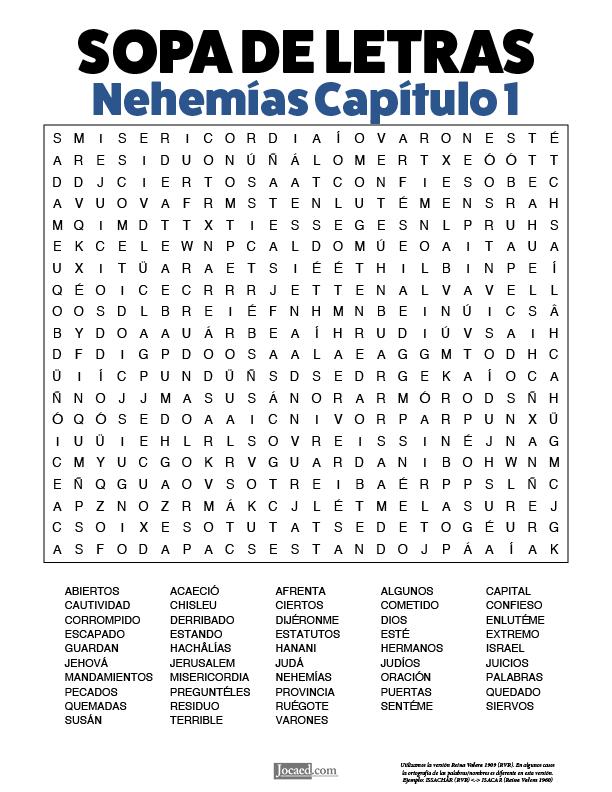 Sopa de Letras - Nehemías Cápitulo 1