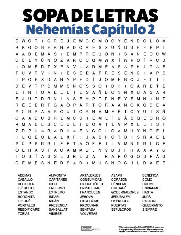 Sopa de Letras - Nehemías Cápitulo 2