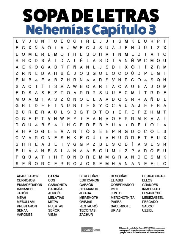 Sopa de Letras - Nehemías Cápitulo 3