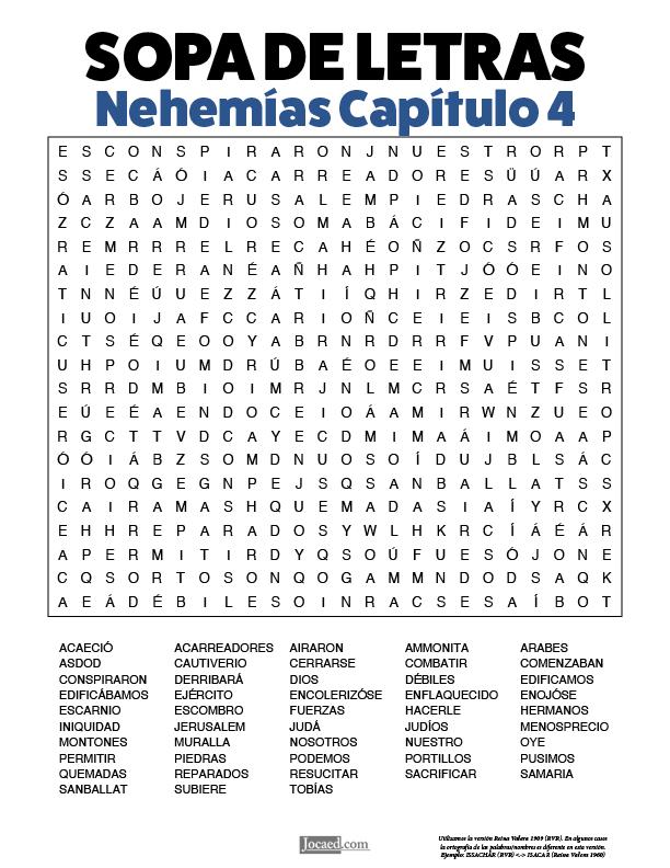 Sopa de Letras - Nehemías Cápitulo 4