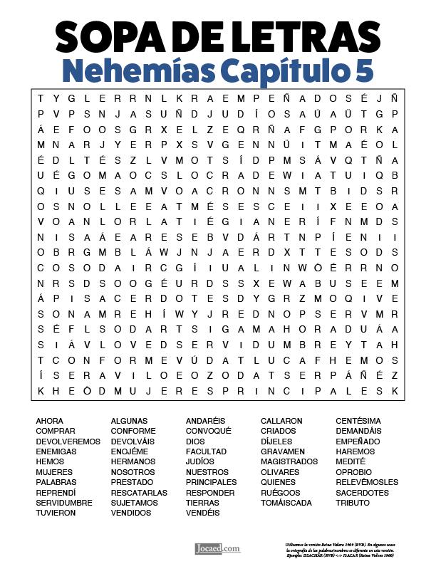 Sopa de Letras - Nehemías Cápitulo 5