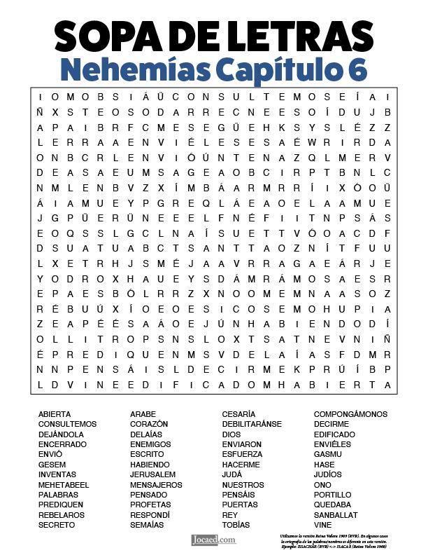 Sopa de Letras - Nehemías Cápitulo 6