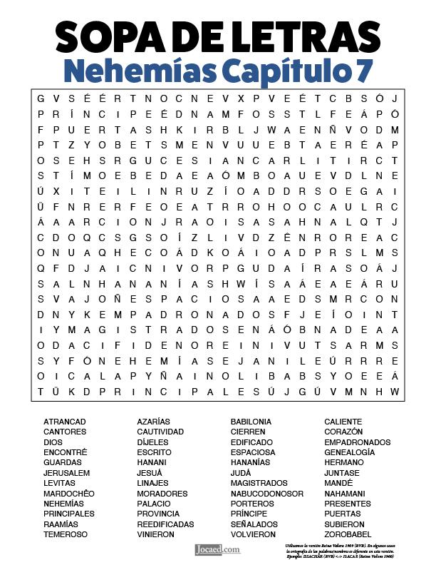 Sopa de Letras - Nehemías Cápitulo 7