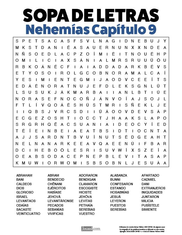 Sopa de Letras - Nehemías Cápitulo 9