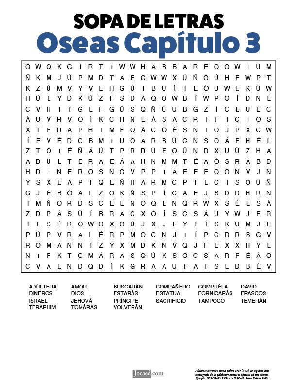 Sopa de Letras - Oseas Cápitulo 3