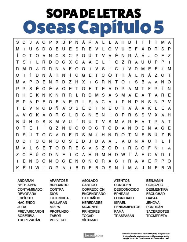 Sopa de Letras - Oseas Cápitulo 5