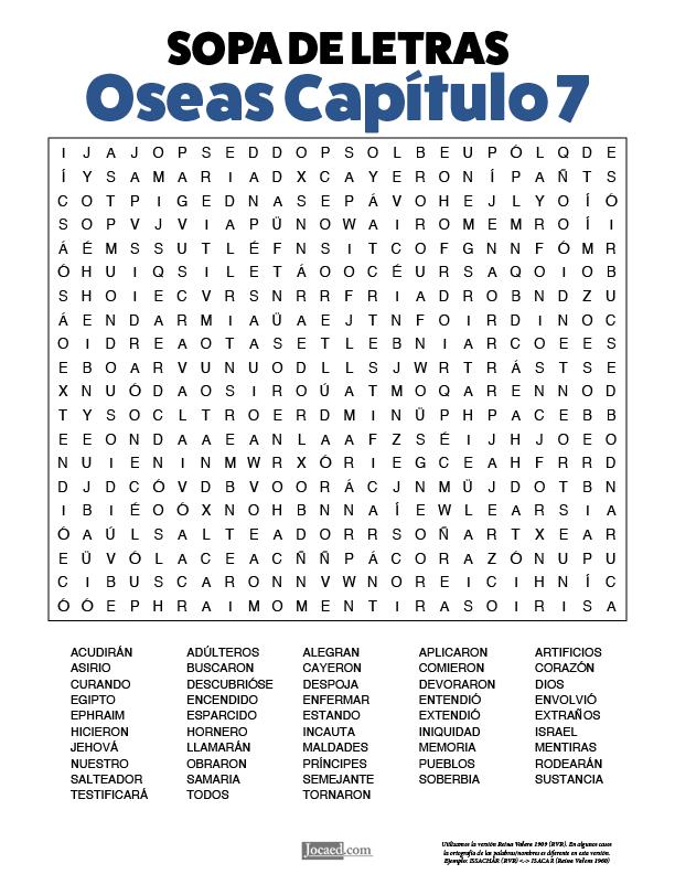 Sopa de Letras - Oseas Cápitulo 7