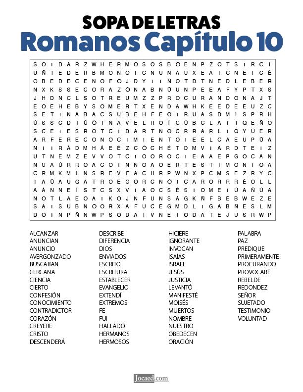 Sopa de Letras - Romanos Cápitulo 10