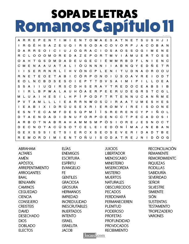 Sopa de Letras - Romanos Cápitulo 11