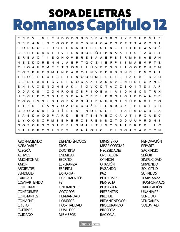 Sopa de Letras - Romanos Cápitulo 12