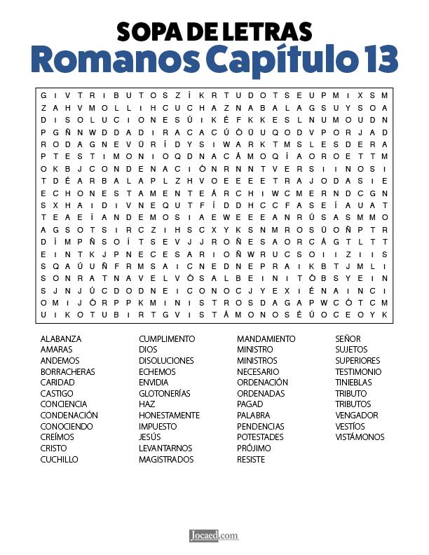 Sopa de Letras - Romanos Cápitulo 13