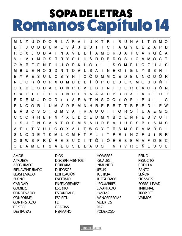 Sopa de Letras - Romanos Cápitulo 14