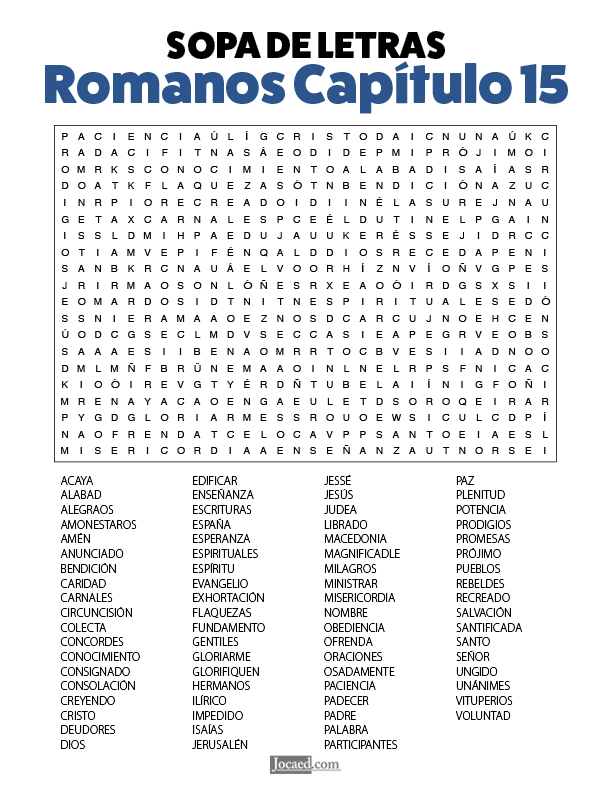 Sopa de Letras - Romanos Cápitulo 15