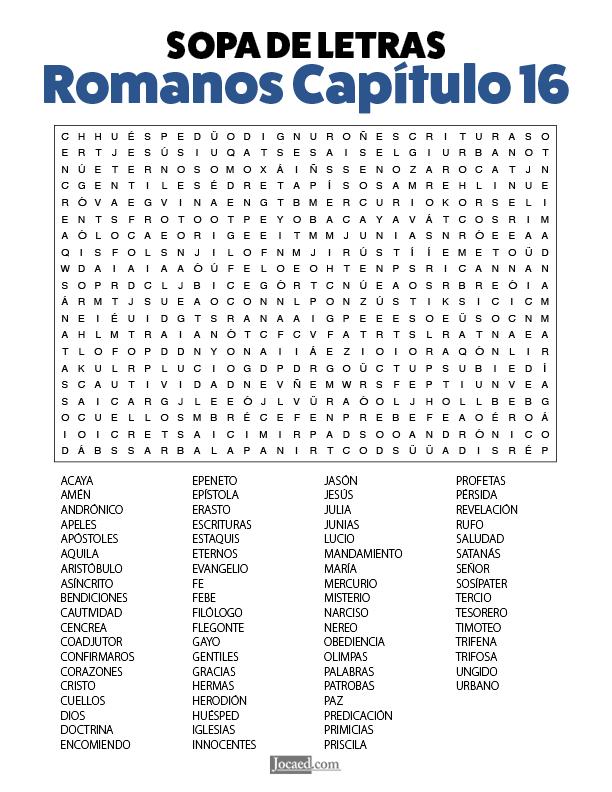 Sopa de Letras - Romanos Cápitulo 16