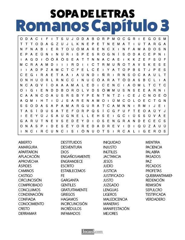 Sopa de Letras - Romanos Cápitulo 3