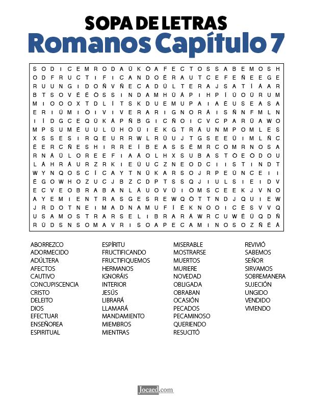 Sopa de Letras - Romanos Cápitulo 7