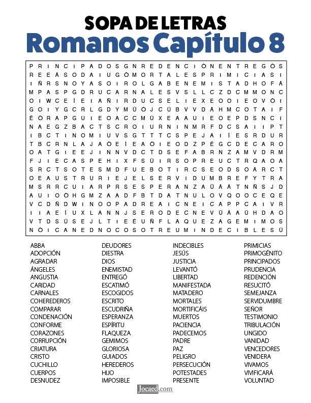 Sopa de Letras - Romanos Cápitulo 8