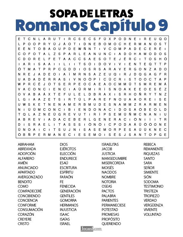 Sopa de Letras - Romanos Cápitulo 9