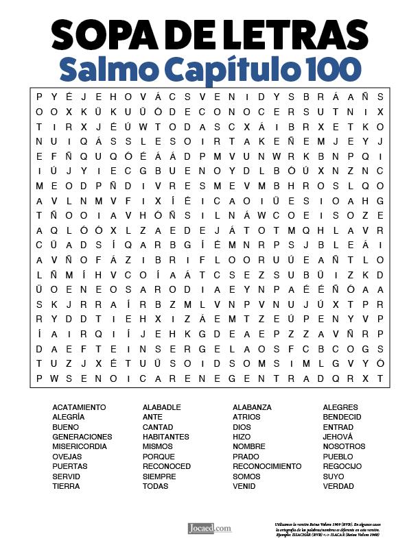 Sopa de Letras - Salmos Cápitulo 100