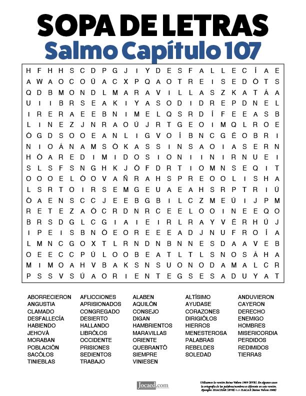 Sopa de Letras - Salmos Cápitulo 107