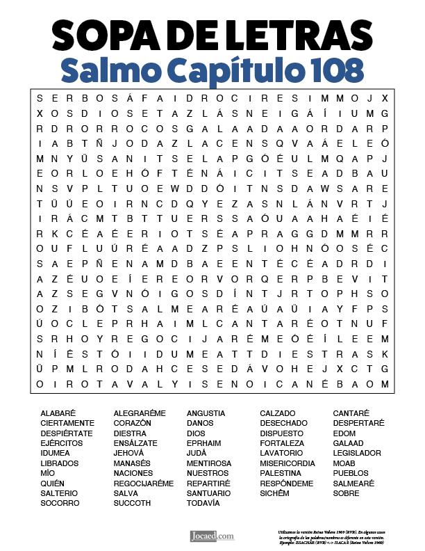 Sopa de Letras - Salmos Cápitulo 108