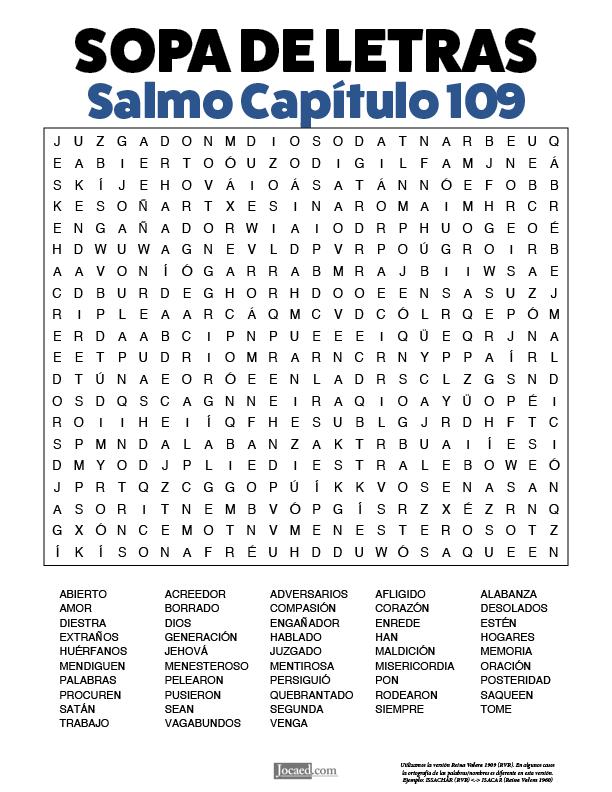 Sopa de Letras - Salmos Cápitulo 109