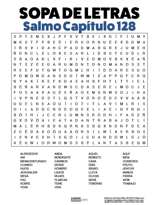 Sopa de Letras - Salmos Cápitulo 128