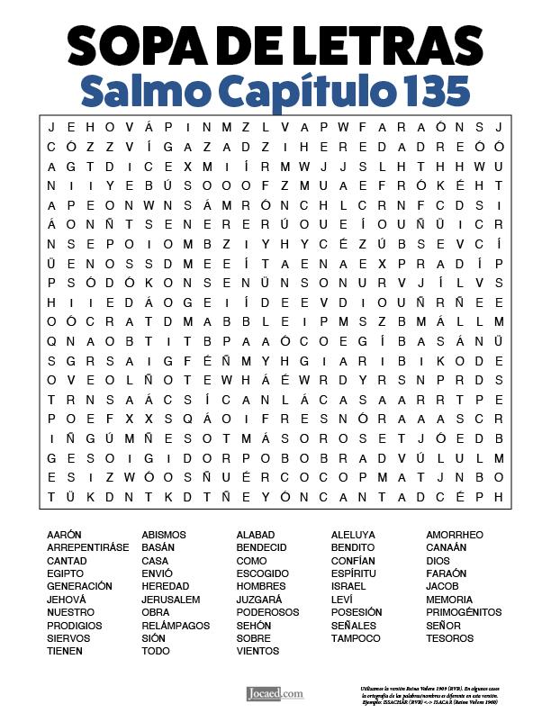 Sopa de Letras - Salmos Cápitulo 135